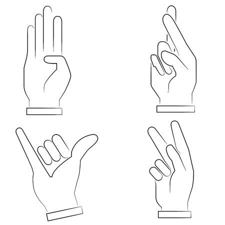 dedo me�ique: se�ales de mano Vectores