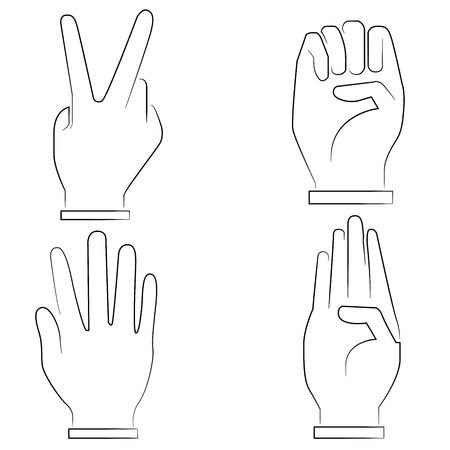 four hands: hand signs