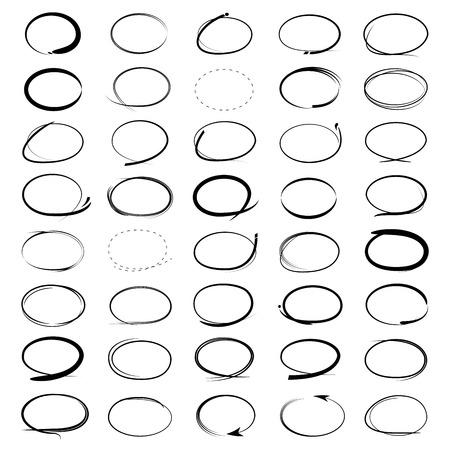 hand drawn highlighter, sketch circle set