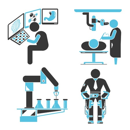 ct scan: robotic surgery icons Illustration