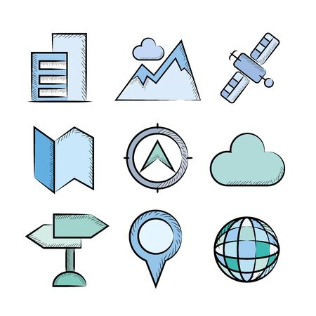 internet buttons: map icons Illustration