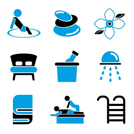 beauty therapist: spa icons, blue color design