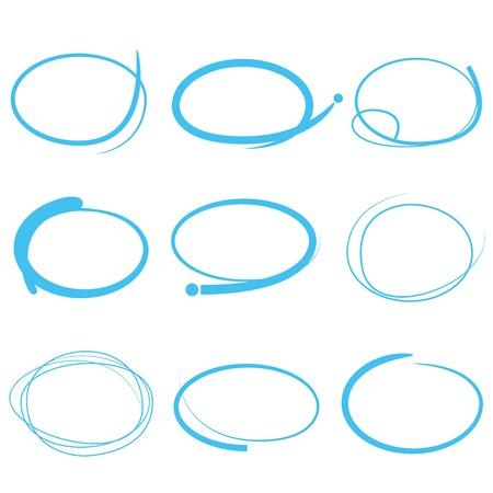 акцент: синие маркеры, рисованной набор круг