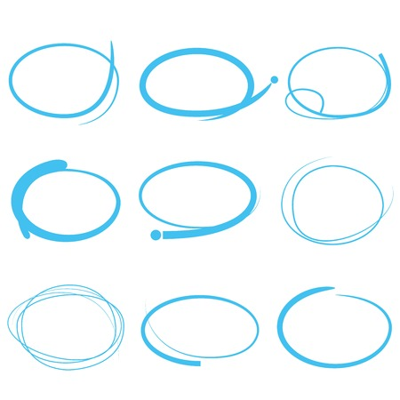 curved line: blue markers, hand drawn circle set Illustration