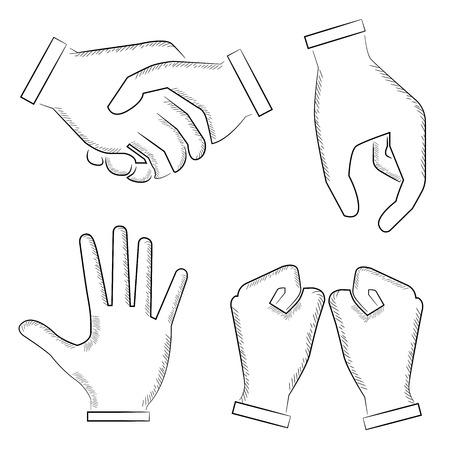 hi five: sketched hand sign Illustration