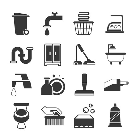 laundry hanger: cleaning icons
