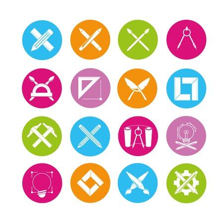 creador: iconos, iconos del papel pluma Vectores