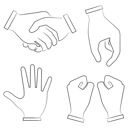 gesticulation: sketch hand signs Illustration
