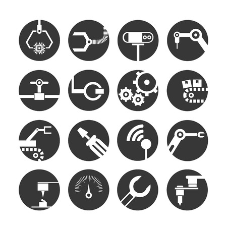 manufacturing occupation: automation icons Illustration