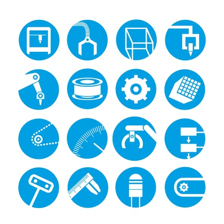 conveyor system: robot and automation icons Illustration
