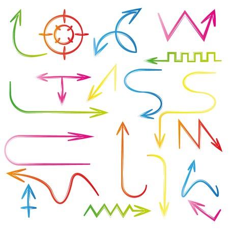 around the clock: sketch arrows, colorful arrows