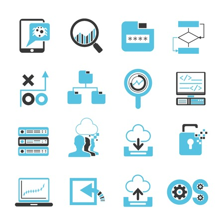 network, programming icons Vectores