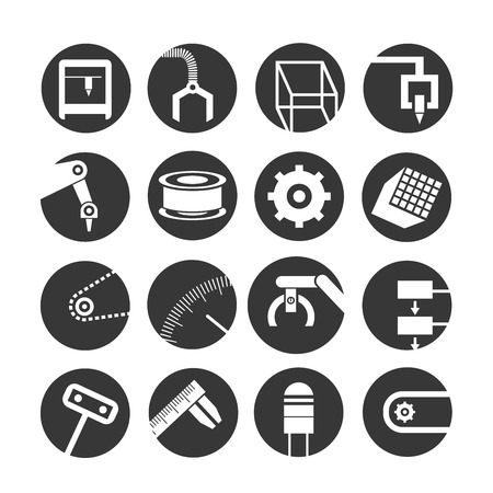 mano robotica: robots y automatización iconos