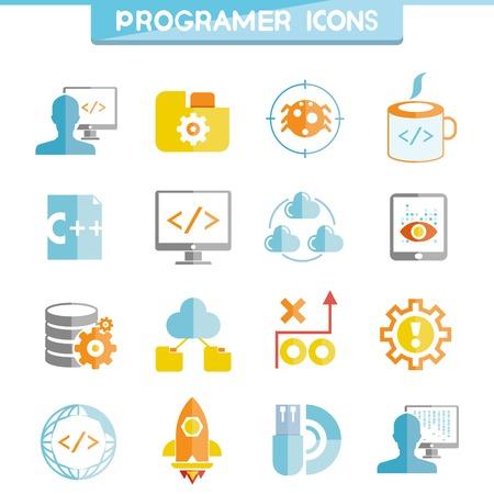 icono computadora: iconos de programación Vectores