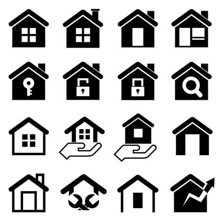 silhouette maison: Accueil icônes