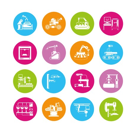 engineering icon: industrial robot icons Illustration