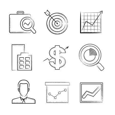 business buildings: marketing icons Illustration