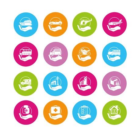 verzekering pictogrammen Stock Illustratie