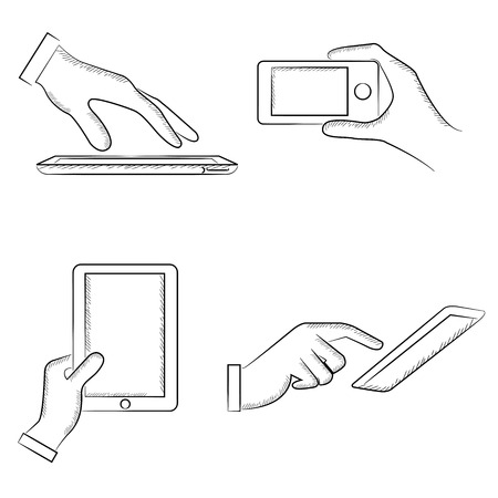 holding smart phone: sketched hand holding smart phone