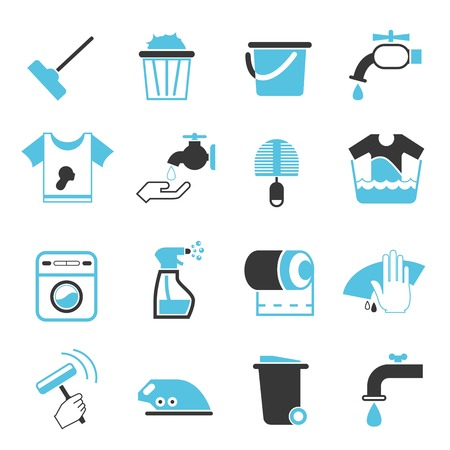 laundry hanger: cleaning icons, blue color
