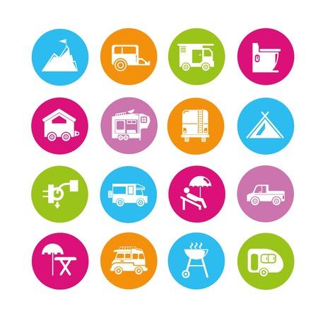 rv: camping icons, rv car icons Illustration