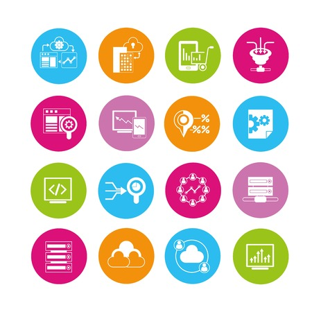 e commerce icon: data analytics icons Illustration