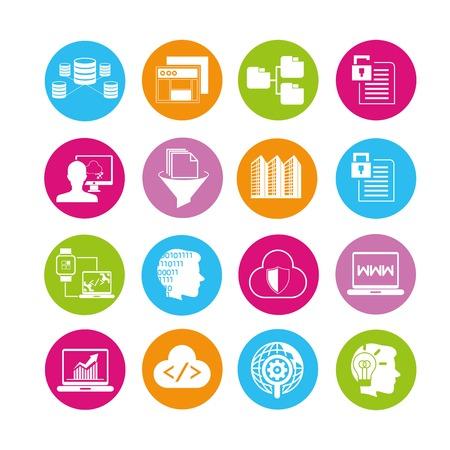 プログラミングやネットワークのアイコン  イラスト・ベクター素材