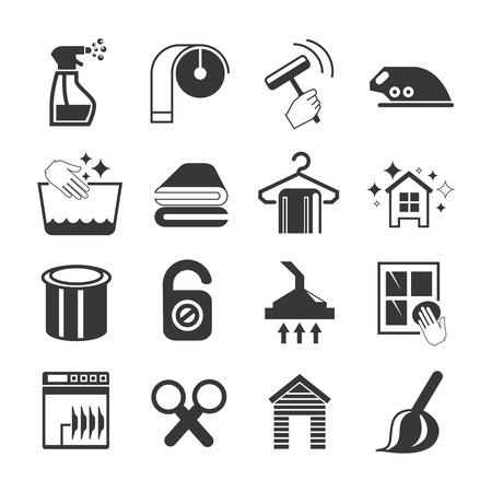laundry hanger: Iconos de limpieza Vectores