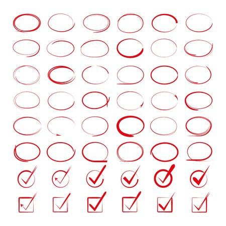 ovalo: círculos y marcas de verificación