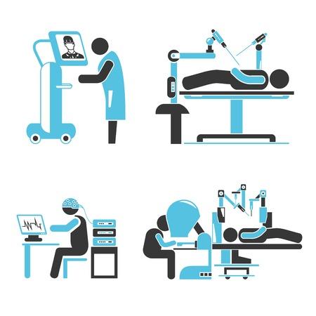 endoscopy: surgery robot icons