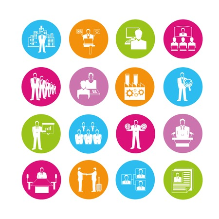 human resource affairs: business meeting icons Illustration