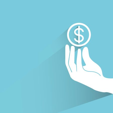 investment concept: investment concept, hand holding dollar coin