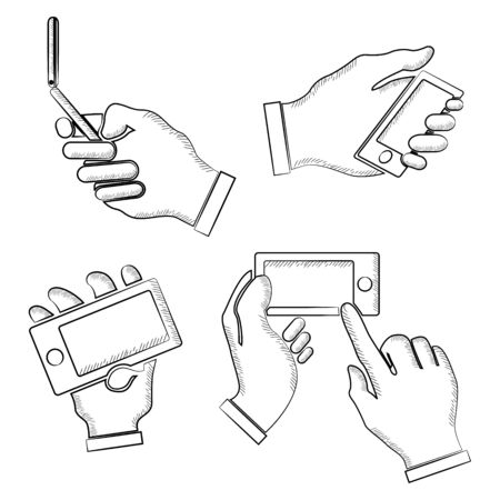 hand holding phone: sketch hand holding phone