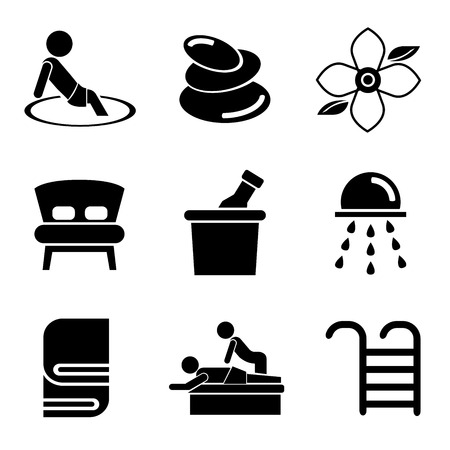flower bath: spa icons Illustration