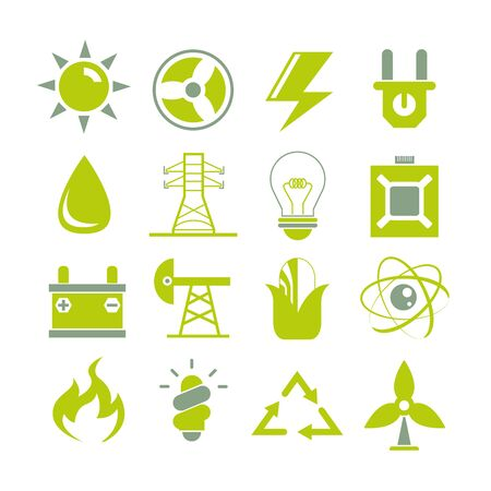 clean energy: clean energy icons Illustration