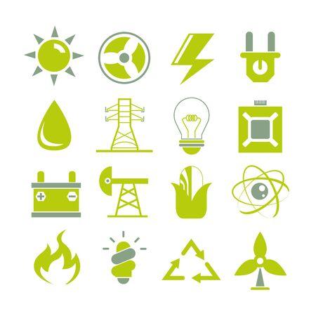 iconos energ�a: iconos de energ�a limpia Vectores