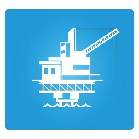floating: oil platform Illustration