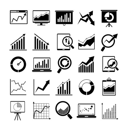 data exchange: graph, chart icons, data analysis icons