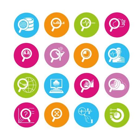 observe: data icons, analytics icons Illustration