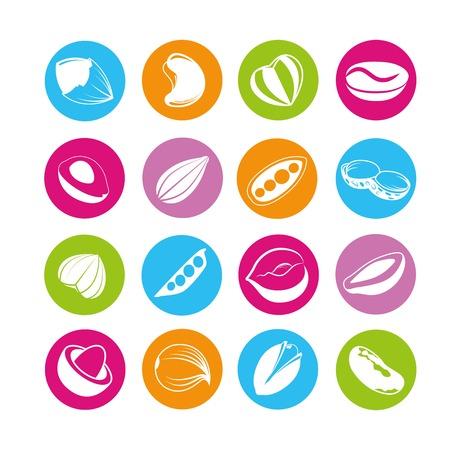 nut icons, almond hazelnut Stock Illustratie