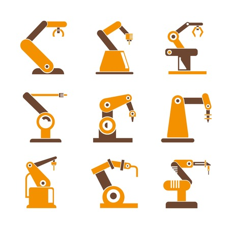 factory automation: industrial robot icons Illustration