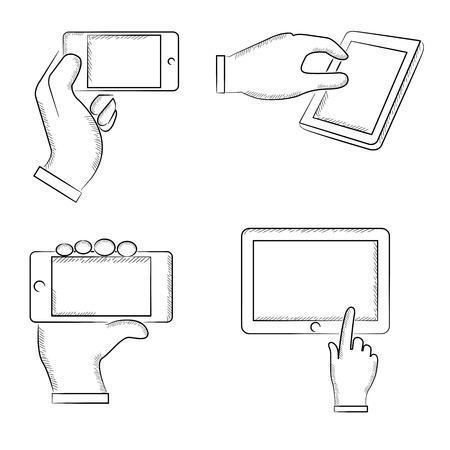 klik: hand aanraken op smart device