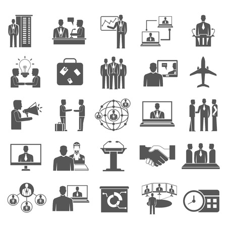 business meeting icons 向量圖像