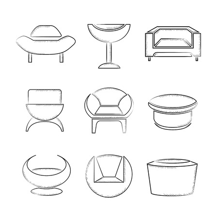 furniture design: sketch sofa icons