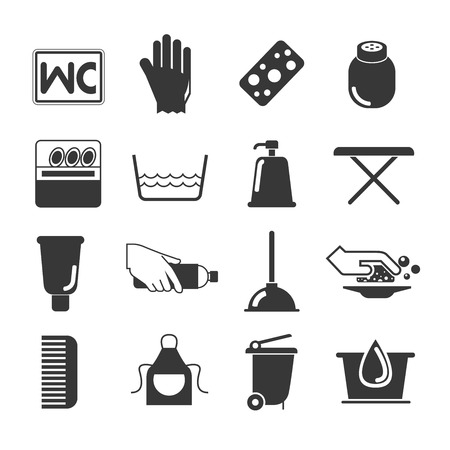 toilet brush: cleaning icons