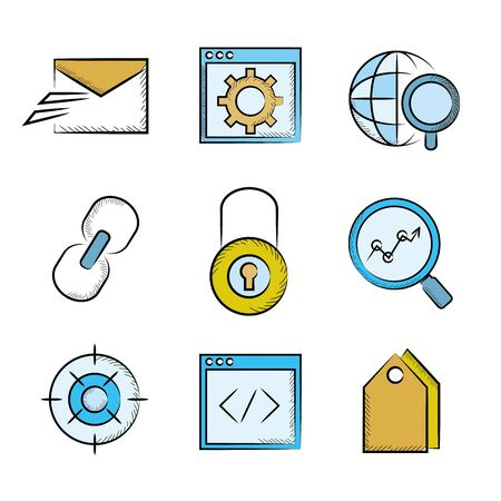 keylock: web icons, seo icons Illustration