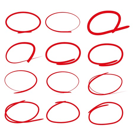 red line markers, circle