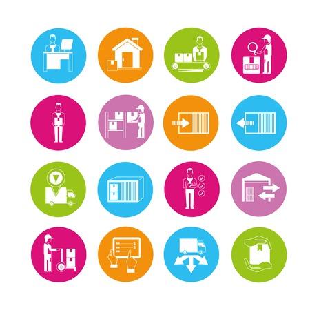 shipment tracking: cargo, warehouse management icons