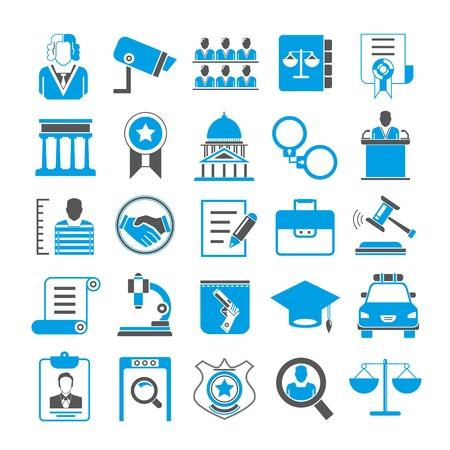 law icons, blue color design
