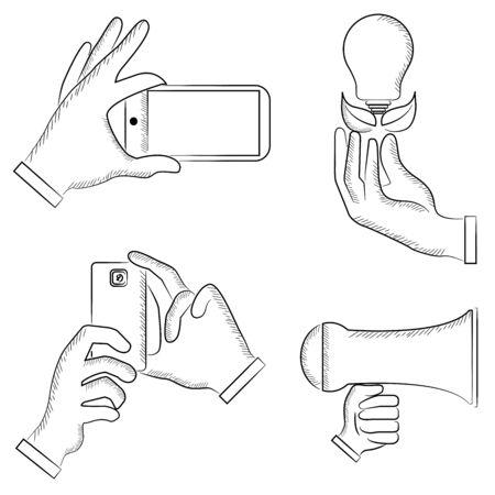 holding smart phone: sketch hand holding smart phone, light bulb Illustration